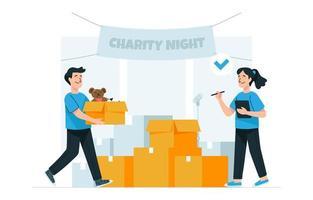 doação noite de caridade vetor