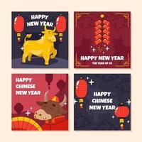 cartão de ano novo boi dourado vetor