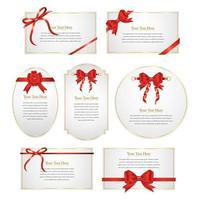 design de cartões de fita vermelha