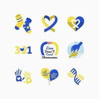 conjunto de ícone azul amarelo da síndrome de down vetor