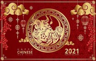 ilustração do ano novo chinês o ano do boi de ouro vetor
