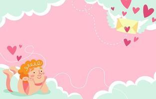 Cupido recebendo mensagem romântica vetor
