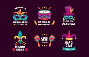 máscaras chapéus tambores maracas para celebrar o mardi gras vetor