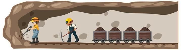paisagem subterrânea de mina de carvão vetor