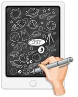mão desenhando elemento de espaço no tablet vetor
