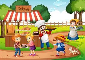 frente de padaria com padeiro no cenário do parque vetor