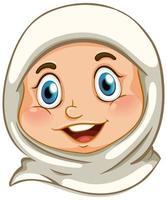 rosto de garota muçulmana feliz