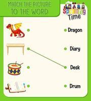 planilha de correspondência de palavra para imagem para crianças vetor