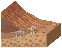 camadas de solo com fóssil de dinossauro vetor