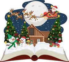 Papai Noel e o boneco de neve na noite de natal vetor