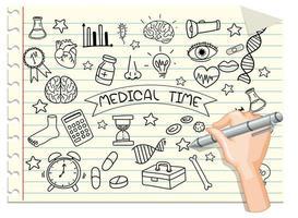 mão desenhando elemento médico em estilo doodle ou esboço no caderno vetor