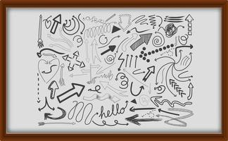 diferentes traços de doodle em moldura de madeira vetor