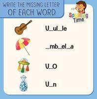 escreva a letra que falta em cada planilha de palavras para crianças vetor