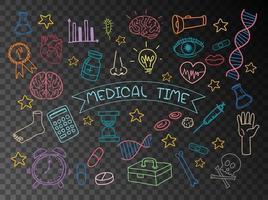 conjunto de elemento médico doodle isolado em fundo transparente vetor