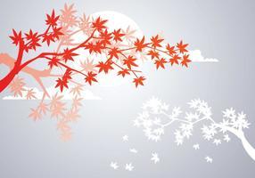Planta de maple japonesa lisa e folhas de maple de outono vetor
