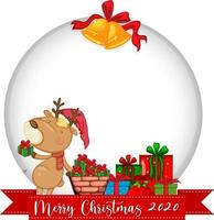 banner de círculo em branco com logotipo da fonte Feliz Natal 2020 e rena fofa vetor