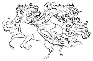 mulher a cavalo vetor