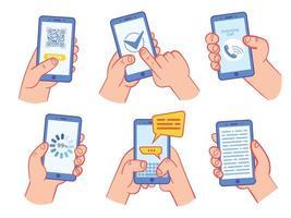 mão segurando conjunto de smartphone