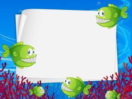 banner de papel em branco com peixe pescador e elementos da natureza submarina no fundo subaquático