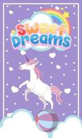 logotipo dos bons sonhos com unicórnio fofo em fundo roxo