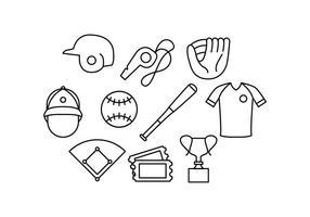 Vetor de ícone de linha de baseball grátis