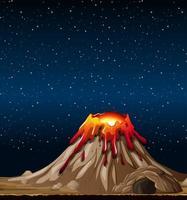 erupção de vulcão em cena da natureza à noite vetor
