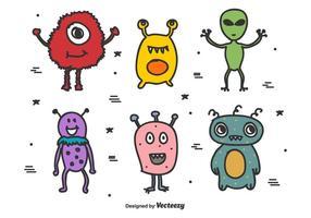 Conjunto de vetores de alienígenas e monstros