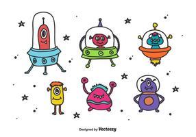 Vector de alienígenas espaciais e monstros