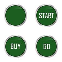 conjunto de quatro botões verdes