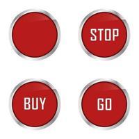 conjunto de quatro botões vermelhos