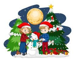 duas crianças criando um boneco de neve com tema de natal à noite vetor