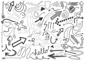 diferentes traços de doodle isolados no fundo branco vetor