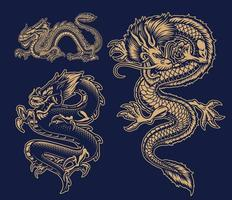 conjunto de dragões asiáticos vetor