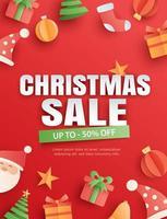 venda de Natal em fundo vermelho em estilo paper art.