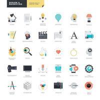 conjunto de ícones de design plano para design gráfico e web vetor