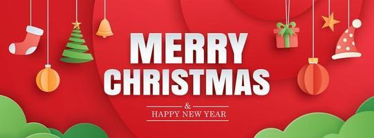 feliz natal e feliz ano novo bandeira vermelha vetor
