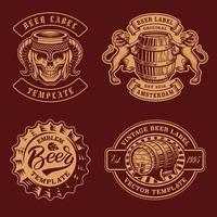 um conjunto de emblemas de cerveja vintage em preto e branco