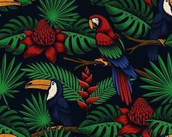 fundo tropical sem costura com pássaros exóticos e flores vetor