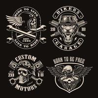 um conjunto de emblemas de motociclista vintage em preto e branco
