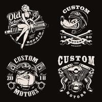 um conjunto de emblemas de motociclista vintage em preto e branco vetor