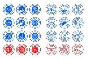 conjunto de emblemas para prevenção covid-19 vetor