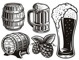 ilustrações em preto e branco para o tema cerveja vetor