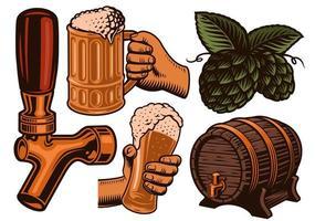 um conjunto de ícones coloridos de cerveja vetor