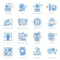 conjunto de ícones de linha plana de design gráfico e processo criativo vetor