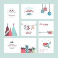 conjunto de cartões de natal e ano novo 2021 vetor