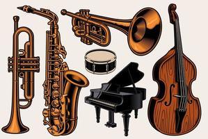 diferentes instrumentos musicais vetor
