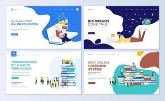 conjunto de modelos de design de página da web para educação online vetor