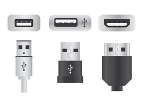 Ícones do vetor da porta USB