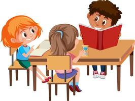 grupo de alunos fazendo lição de casa sobre fundo branco