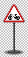 sinal de cruzamento de bicicleta com suporte isolado em fundo transparente